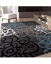 "Contemporary Modern Floral Flowers Area Rug 6' 6"" X 9' Gray"