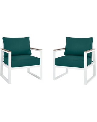 Shop Deals For Hampton Bay West Park White Aluminum Outdoor Patio Lounge Chair With Cushionguard Malachite Green Cushions 2 Pack