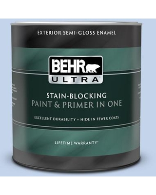 BEHR ULTRA 1 qt. #580A-3 Rain Song Semi-Gloss Enamel Exterior Paint and Primer in One