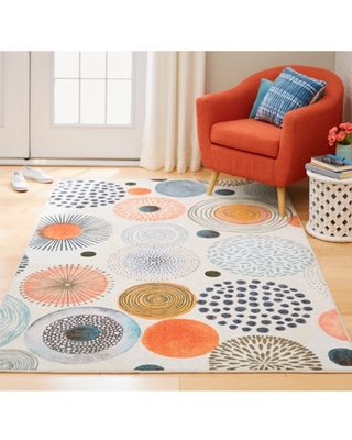 Mohawk Home Prismatic Textured Circles Multi Contemporary Geometric Precision Printed Area Rug, 8'x10', Grey & Red