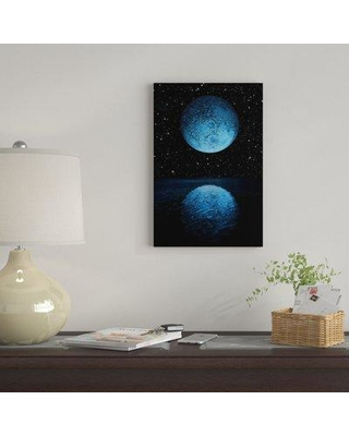 """East Urban Home 'A Blue Moon Rising Over A Calm Alien Ocean With A Starry Sky As A Backdrop' By Marc Ward Graphic Art Print on Wrapped Canvas EUME7058 Size: 12"""" H x 8"""" W x 0.75"""" D"""