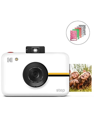 Kodak Step Camera Instant Camera with 10MP Image Sensor, ZINK Zero Ink Technology, Classic Viewfinder, Selfie Mode, Auto Timer, Built-in Flash & 6 Picture Modes | White.
