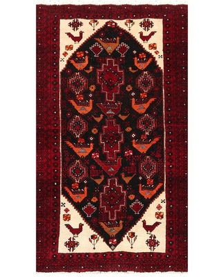 """Gabbeh Hand Knotted Charcoal,Burgundy Wool Oriental Area Rug (3'6''x6') - 3'9"""" x 5'9"""" (Charcoal - 3'9"""" x 5'9"""")"""