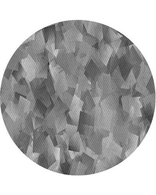 East Urban Home Abstract Wool Gray Area Rug X113646594 Rug Size: Round 4'