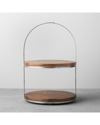 2-Tier Wood & Metal Cake Stand - Hearth & Hand with Magnolia