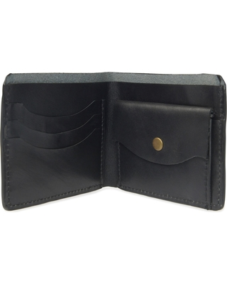 VIDA VIDA - Luxe Black Leather Wallet With Coin Pocket