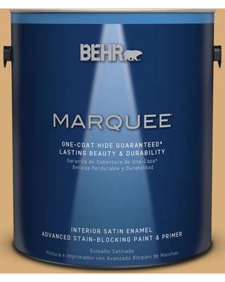 BEHR MARQUEE 1 gal. #MQ2-17 Glittering Sun One-Coat Hide Satin Enamel Interior Paint and Primer in One