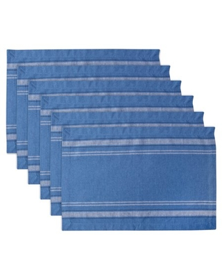 DII Blue Chambray French Stripe Placemat (Set of 6)