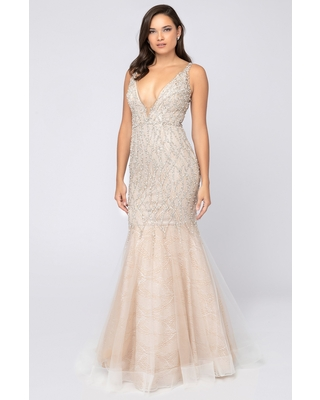 Terani Couture - 1911P8352 Beaded Deep V-neck Mermaid Dress