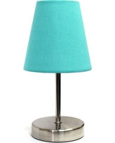 Simple Designs 10.5 in. Sand Nickel Mini Basic Table Lamp with Blue Fabric Shade