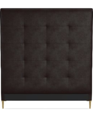 Brooklyn Tall Headboard Only, Queen, Tuscan Leather, Chocolate, Polished Nickel
