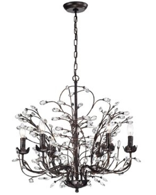 Lakendra 6 - Light Candle Style Classic / Traditional Chandelier with Crystal Accents