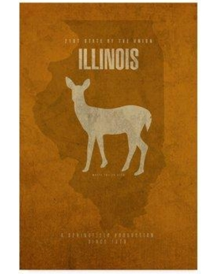 "Wrought Studio 'State Animal Illinois' Graphic Art Print on Wrapped Canvas WRSD2279 Size: 19"" H x 12"" W x 2"" D"