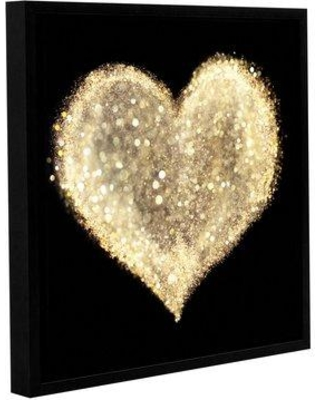 """Wrought Studio 'Expensive Heart 2' Graphic Art Print W001579090 Size: 14"""" H x 14"""" W x 2"""" D Format: Black Floater Frame"""