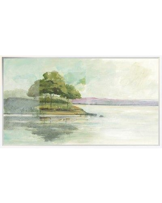"""East Urban Home 'Lake Front I' Print EUHE4213 Size: 21.8"""" H x 37.6"""" W Format: Framed"""
