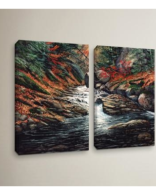 """Loon Peak Autumn Brook 2 Piece Painting Print on Wrapped Canvas Set LOON5442 Size: 36"""" H x 48"""" W x 2"""" D"""