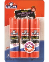 Elmer's Washable Glue Sticks Disappearing Purple - 3ct, White