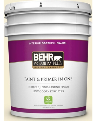 BEHR Premium Plus 5 gal. #380E-1 Mist Yellow Eggshell Enamel Low Odor Interior Paint and Primer in One