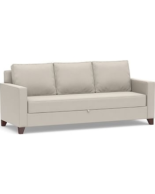 Cameron Square Arm Upholstered Pull-Up Platform Sleeper Sofa, Polyester Wrapped Cushions, Performance Everydaysuede(TM) Stone