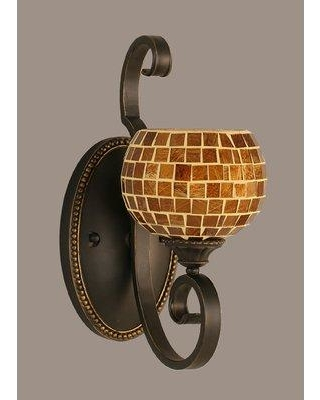 "Astoria Grand Pierro 1-Light Wall Sconce ARGD8937 Size: 6"" Shade Color: Mosaic"