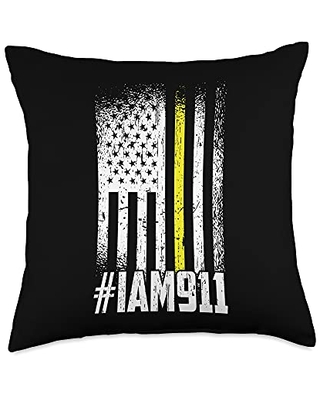 911 Dispatcher Cloths Emergency Operator Gifts 911 American Flag Dispatch-er USA Thin Gold Line Operator Throw Pillow, 18x18, Multicolor