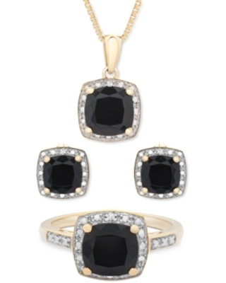 3-Pc. Set Onyx & Diamond Accent Pendant Necklace, Ring and Stud Earrings in 14k Gold-Plated Sterling Silver (Also Available in Sterling Silver)