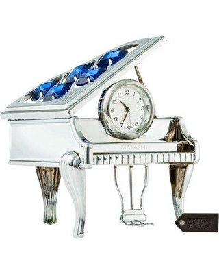 Matashi Crystal Vintage Piano Tabletop Clock MTCL13033G / MTCL13033S Color: Chrome Silver/Blue