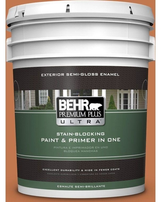 BEHR ULTRA 5 gal. #240D-6 Chivalry Copper Semi-Gloss Enamel Exterior Paint and Primer in One