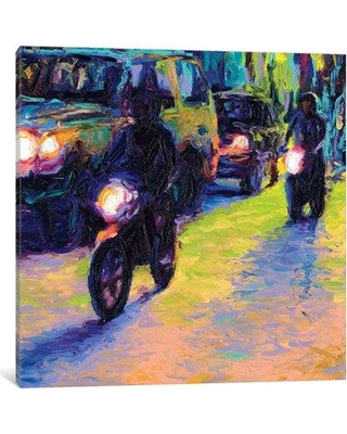 "Latitude Run Iris Scott - Two Motorcycles Painting Print on Wrapped Canvas LATR2381 Size: 37"" H x 37"" W x 0.75"" D"