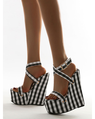 Milanoo Wedge Sandals for Woman Attractive Plaid Textile