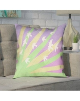 """Brayden Studio Enciso Modern Birds and Sun Pillow Cover BYST7125 Size: 20"""" H x 20"""" W, Color: Green/Yellow/Purple"""