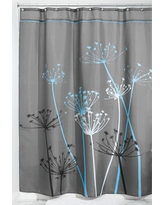 Shower Curtain Interdesign Floral Gray Blue, Gray/Blue