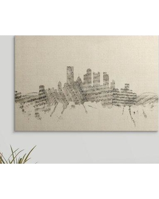 "Great Big Canvas 'Pittsburgh Pennsylvania Skyline Sheet Music Cityscape' by Michael Tompsett Graphic Art Print 2288696_ Size: 20"" H x 30"" W x 1.5"" D Format: Canvas"
