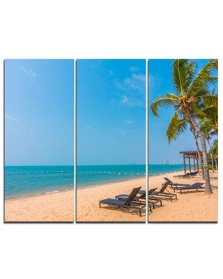Design Art Blue Beach with Palm Trees - 3 Piece Photographic Print on Wrapped Canvas Set PT8966-3P