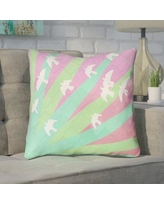 "Brayden Studio Enciso Birds and Sun Throw Pillow BYST5053 Size: 18"" x 18"", Color: Green/Pink"