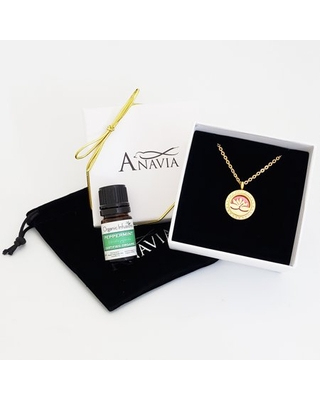 Mother's Day Lotus Gift for Her On the Go Travel Diffuser Crystal Rhinestone Necklace & Organic Essential Oil Stainless Steel Aromatherapy Jewelry Gift Set - Gold Necklace & Peppermint Oil