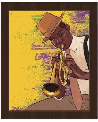 """Click Wall Art 'Playing the Trumpet' Framed Graphic Art MDG0000010FR Size: 16.5"""" H x 13.5"""" W Format: Espresso Framed"""