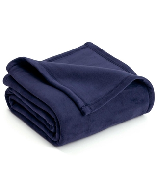Vellux Plush Eclipse Blue Polyester Twin Blanket