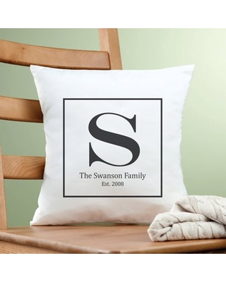 Personalized Family Initial Pillow, Black
