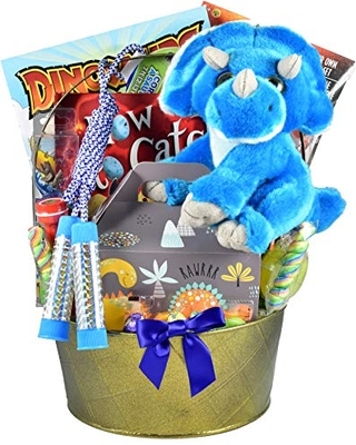 Gift Basket Village Fantastic Jurassic - Dinosaur Themed Easter Basket For Kids with Plush Dinosaur, Dino Eggs, Activity Book, Candy and More..., Milk Chocolate