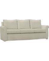 """Cameron Roll Arm Slipcovered Sofa 88"""", Polyester Wrapped Cushions, Premium Performance Basketweave Oatmeal"""