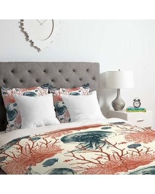 East Urban Home Coral and Jellyfish Duvet Cover Set EUNH6358 Size: King