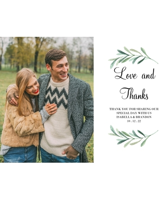 Wedding Thank You 5x7 Cards, Standard Cardstock 85lb, Card & Stationery -Wedding Thank You Foliage Wreath by Tumbalina