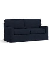 "Buchanan Square Arm Slipcovered Loveseat 77.5"", Polyester Wrapped Cushions, Twill Cadet Navy"