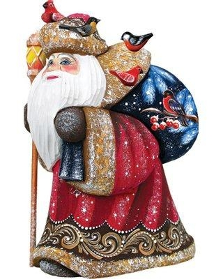 "The Holiday Aisle® Masterpiece Happy Traveler-Yuletide Woodcarved Figurine, Wood in Red/Blue, Size 7""H X 4""W X 4""D 