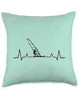 Windsurfing Equipments Accessories Gifts Shirts Sails Surfer-Boards Windsurfers Throw Pillow, 18x18, Multicolor