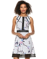 GUESS Women's Floral Print Knee-Length Cocktail Dress, Grey Multi, 8