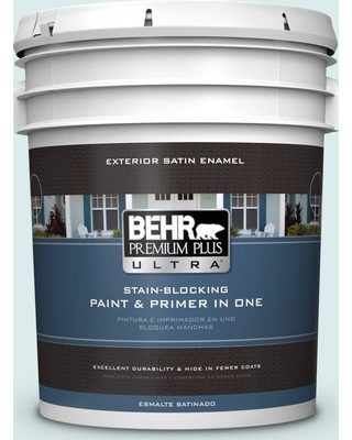 BEHR ULTRA 5 gal. #510E-1 Ice Folly Satin Enamel Exterior Paint and Primer in One