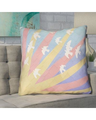 Brayden Studio Enciso Birds and Sun Faux Leather Euro Pillow BYST7144 Color: Blue/Yellow/Orange