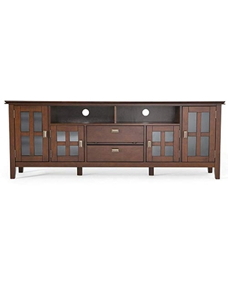 SIMPLIHOME Artisan SOLID WOOD Universal TV Media Stand, 72 inch Wide, Contemporary,Entertainment Center, Storage Cabinet with Glass Doors, for Flat Screen TVs up to 80 inches, Russet Brown